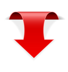 Red 3d down sticker arrow with transparent shadow vector