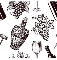Ripe grapes wicker bottle and glass for wine vector