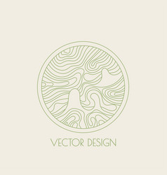 Round logo with organic shapes vector