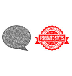 Rubber federated states stamp seal and hatched vector