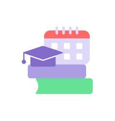 School program schedule flat color icon vector