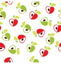 Seamless pattern of red and green apple heart vector