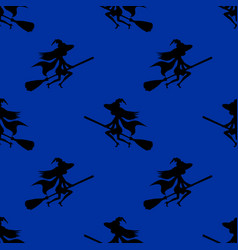 seamless pattern witch silhouette hat flying on vector image