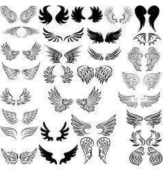 set bird wings for heraldry design set of vector image