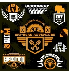 Set off-road suv car emblems design elements vector image