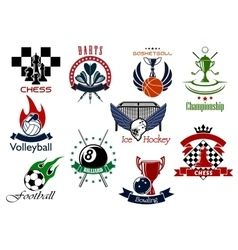 set sporting emblems and icons vector image