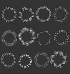 Set with round white frames on black background vector