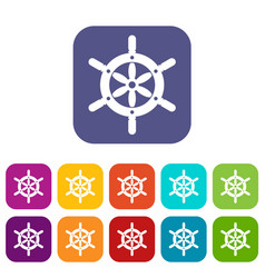 Ship wheel icons set flat vector