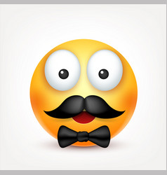 Smiley with mustachesmiling emoticon yellow face vector