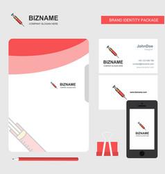 syringe business logo file cover visiting card vector image