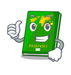Thumbs up green passport in the cartoon shape vector
