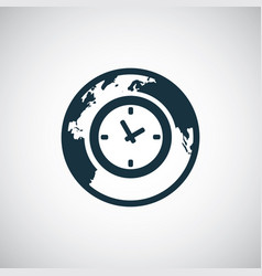 time globe icon for web and ui on white background vector image
