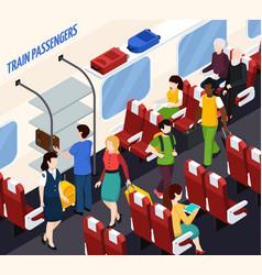 train passengers isometric composition vector image
