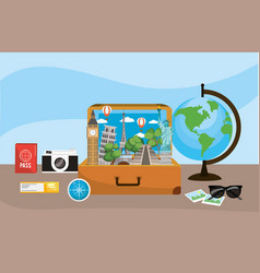 travel briefcase with global map destination vector image