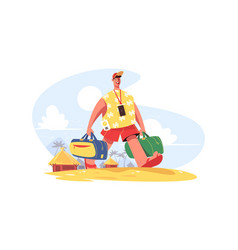Traveller with luggage vector
