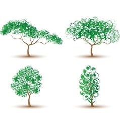 TREES ABSTRACT-COLLECTION OF FOUR vector