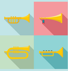 Trumpet horn musical instrument icons set flat vector
