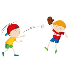 Two boys throwing and catching ball vector