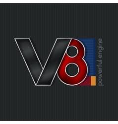 V8 Bright Volumetric Emblem V8 vector