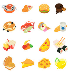 Variety food icons set isometric style vector