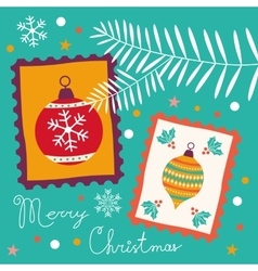 Vintage Christmas card with stamps vector image