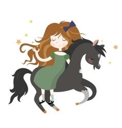 Whimsical girl on black horse vector image