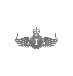 Wing shield crown initial i vector
