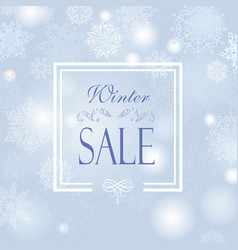 winter shopping sale banner with lettering snow vector image
