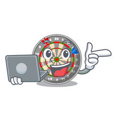 With laptop dartboard stuck to the cartoon wall vector