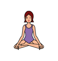 woman yoga cartoon vector image