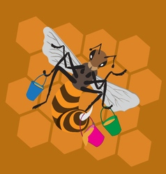 bee honeycomb bucket vector image vector image