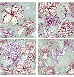 Floral Seamless Patterns with hand drawn flowers vector image