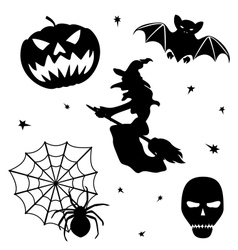 Halloween silhouette set on white background vector image
