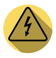 high voltage danger sign flat black icon vector image