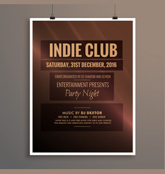 indie club dj party night flyer banner template vector image vector image