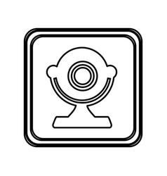 monochrome contour of button with desktop webcam vector image