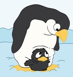Mother Penguin Watching Her Baby vector image vector image