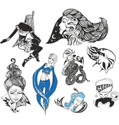 Set of fantasy ladies and tattoo girls vector image vector image