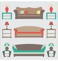 Sofas Set Flat Side Table vector image