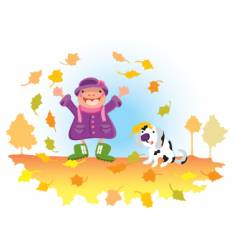 child playing with leaves vector image vector image