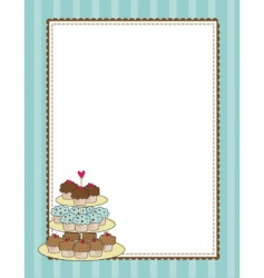 cupcake border blue vector image vector image