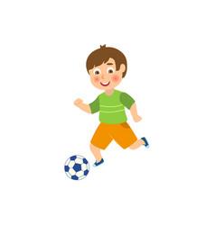 flat boy character playing football vector image vector image