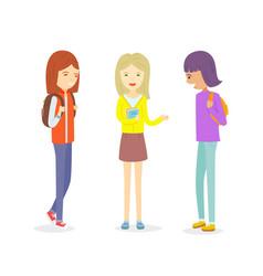 group of teen girl talking outdoor girl vector image