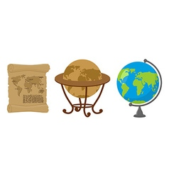 Map of world Set of map Earth Ancient scroll with vector image