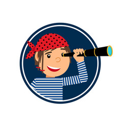 pirate with spyglass icon in circle vector image