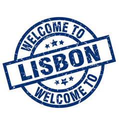 Welcome to lisbon blue stamp vector