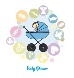 Baby boy baptism invitation card vector image vector image