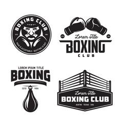 Boxing club labels set vintage vector