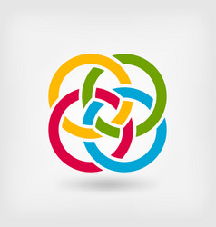 four interlocked rings vector image