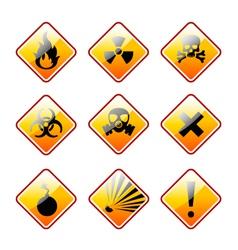 Orange warning signs vector image vector image